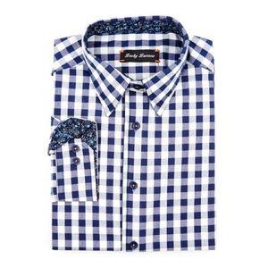 🎁Navy Plaid Lucky Luciano Dress Shirt XL